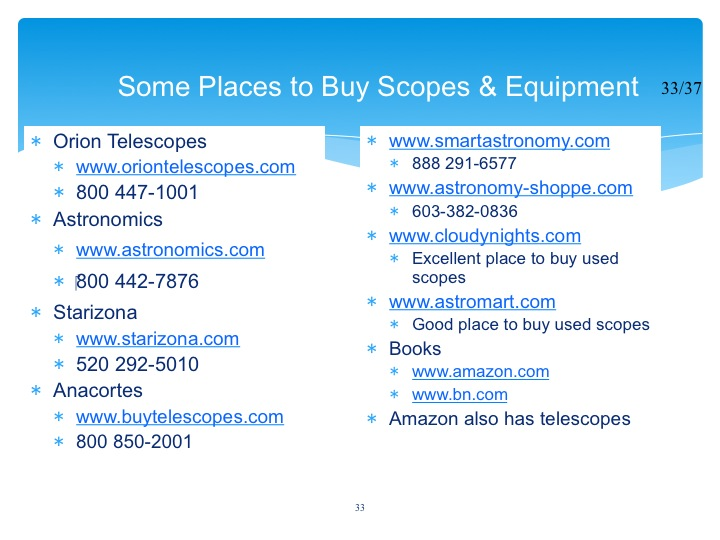 Alachua Astronomy Club, Inc  - Before You Buy Your First
